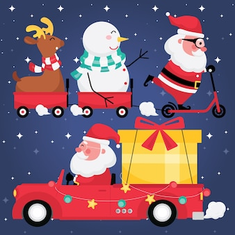Christmas and new year festive collection feature picture set of santa claus with reindeer, snowman, red cart and gift on a car with dark blue background