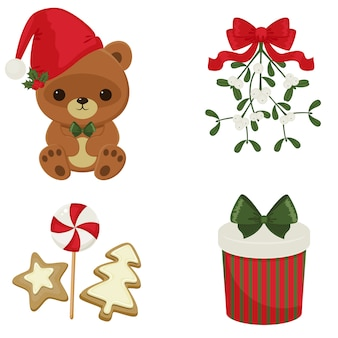 Christmas and new year festive icons