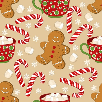 Christmas and new year festive seamless pattern for wrapping paper or fabric with different elemets. fashionable vintage style.