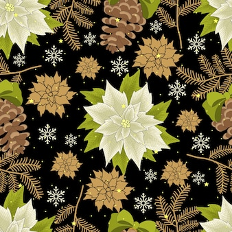Christmas and new year festive seamless pattern for wrapping paper or fabric with different elemets