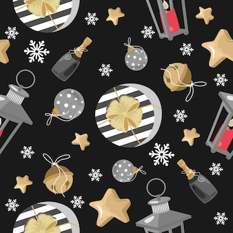 Christmas and new year festive seamless pattern