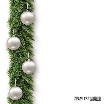Christmas or new year fir branch with silver balls on white background vertical seamless pattern
