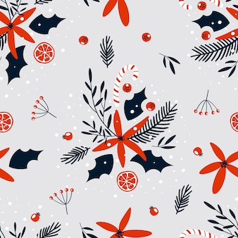 Christmas and new year floral seamless pattern for wrap paper or fabric design with branches, berries and flowers. trendy vintage style.