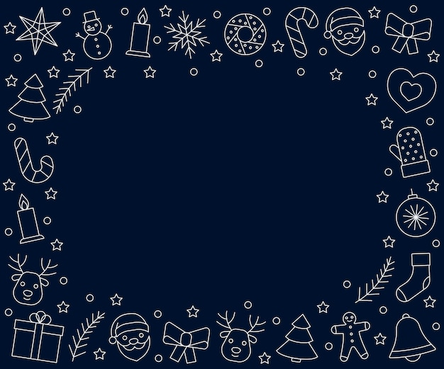 Christmas and new year frame white line icons on dark blue background greeting chrismas