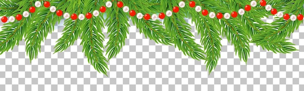 Christmas or new year garland string with fir branches winter decoration on transparent background
