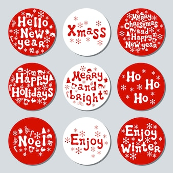 Christmas new year gift round stickers