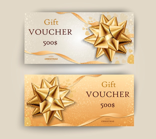 Christmas and new year gift voucher, discount coupon template