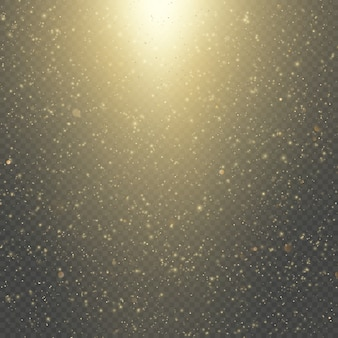 Christmas or new year glowing sparkles rain. abstract gold glitter space nebula shine effect.