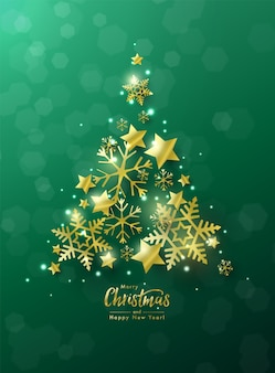 Christmas and new year greeting card decorated by christmas tree made of golden stars and snowflakes against green bokeh background.