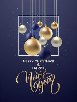 Christmas and new year greeting card, design of xmas black, silvr, gold bauble with golden glitter confetti. vector illustration