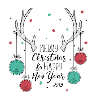 Christmas and new year greeting card vintage style