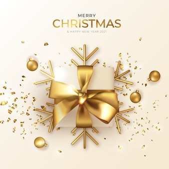 Christmas and new year greeting card with beautiful realistic present