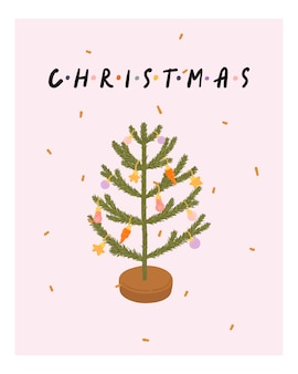 Christmas and new year greeting card with christmas tree in hygge style. cozy winter season. scandinavian