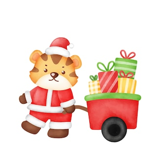 Christmas and new year greeting card with cute tiger in watercolor style .