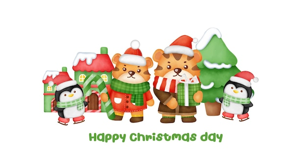 Christmas and new year greeting card with a cute tigers.