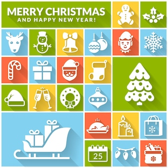Christmas and new year greeting card with holiday symbols  santa snowman gingerbread deer etc