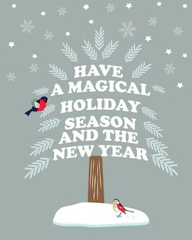 크리스마스, 휴일 소원과 새와 함께 새 해 인사 카드.