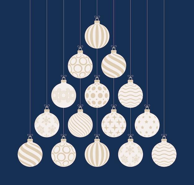 Christmas and new year greeting flat cartoon card.