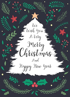 Christmas and new year greeting or invitation card.