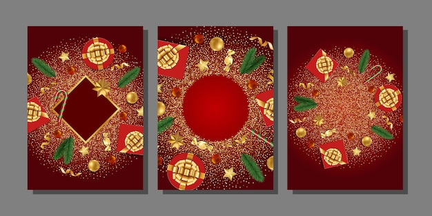 Christmas and new year greeting template set