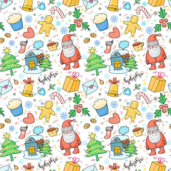 Christmas and new year hand drawn seamless pattern with christmas tree gift and santa claus