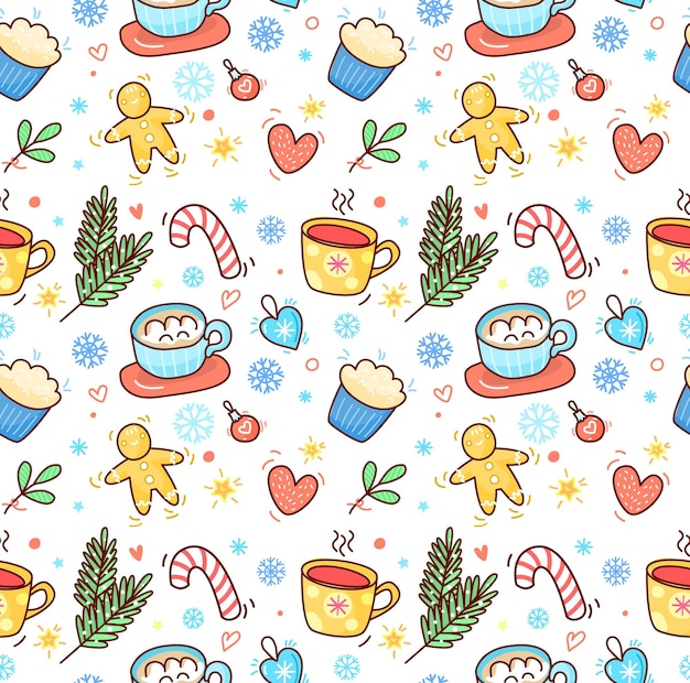 Christmas and new year hand drawn seamless pattern with a cup of tea and cocoa