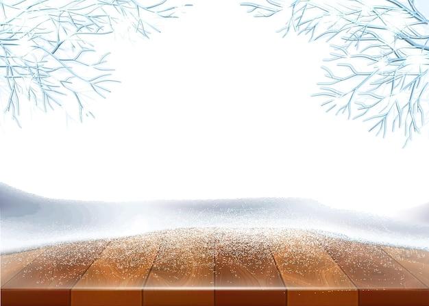 クリスマス、氷で覆われた木製のテーブル、凍った木と雪と新年の休日の背景