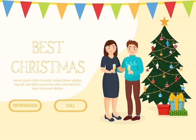 クリスマス、新年の休日のお祝いの招待状の着陸のwebページ