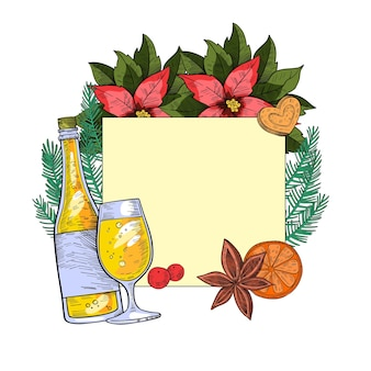 Christmas or new year holiday engraving frame with campaign bottle, glass, fir branches, cookie, orange slice isolated on white. square festive postcard template in vintage style. x-mas border