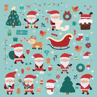 Christmas and new year holiday set with santa claus in different situations, presents, christmas decorations, deer and snowman.