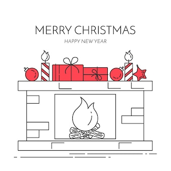 Christmas and new year horizontal banner with fireplace, gifts, decorations