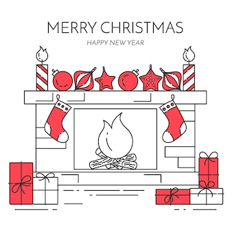 Christmas and new year horizontal banner with fireplace, gifts, decorations.