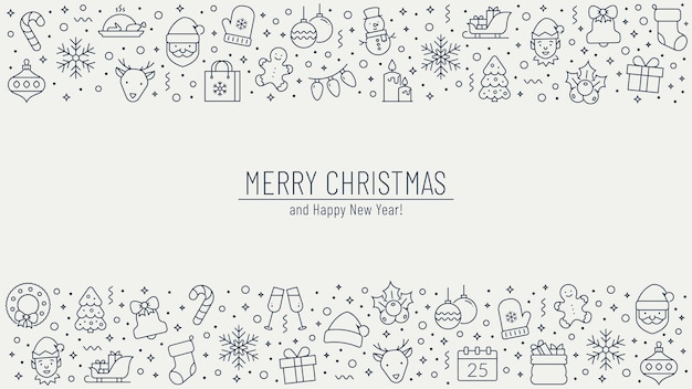 Christmas and new year horizontal greeting banner with outline holiday symbols