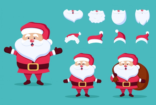 Christmas and new year icon set. santa claus, beard, hats.  illustration