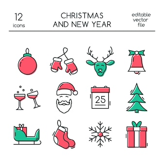 Christmas and new year icons in line style.