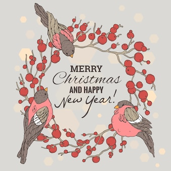 Christmas and new year illustration with wreath, berries and bullfinches