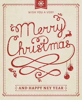Christmas and new year lettering poster