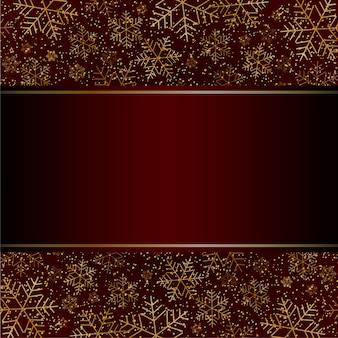 Рождественская новогодняя роскошная открытка с золотыми снежинками и блестками