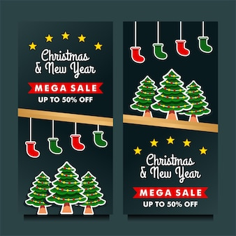 Christmas and new year mega sale banner with black background design template