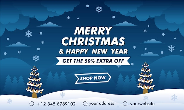 Christmas and new year mega sale banner with blue background design template
