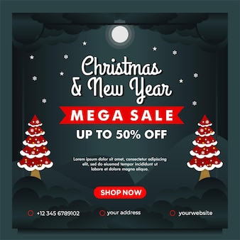 Christmas and new year mega sale banner with night background design template