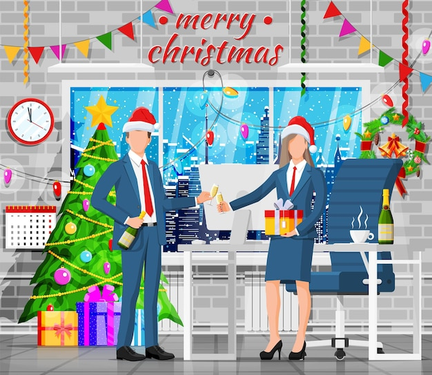 Christmas and new year office workspace interior. gift box, christmas tree, winter cityscape in window, clocks. business people. new year decoration. merry christmas xmas. flat vector illustration