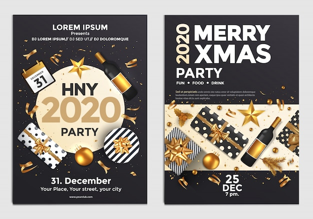 Christmas and new year party poster or flyer design template