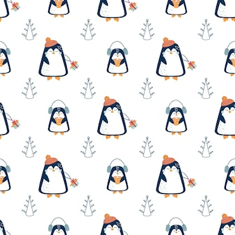 Christmas and new year pattern seamless pattern with abstract christmas tree and cute penguins