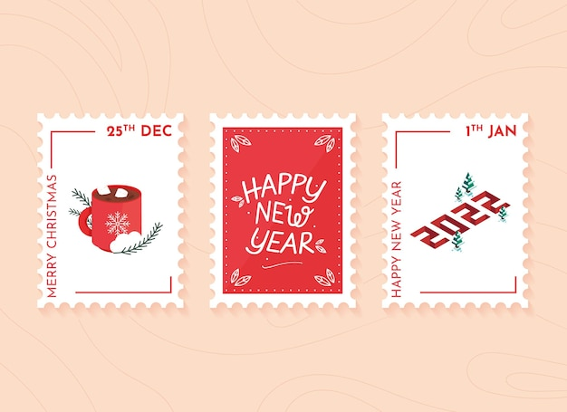 Christmas and new year postage stamps