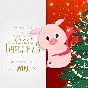 Christmas and new year poster. cute piggy