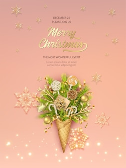 Christmas and new year poster template with waffle cone full of fir branches and ornaments