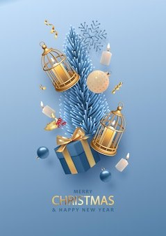 Christmas and new year poster template