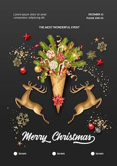 Christmas and new year poster with golden deer and waffle cone with fir branches
