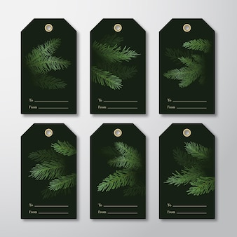 Christmas and new year ready-to-use gift tags or labels templates set.
